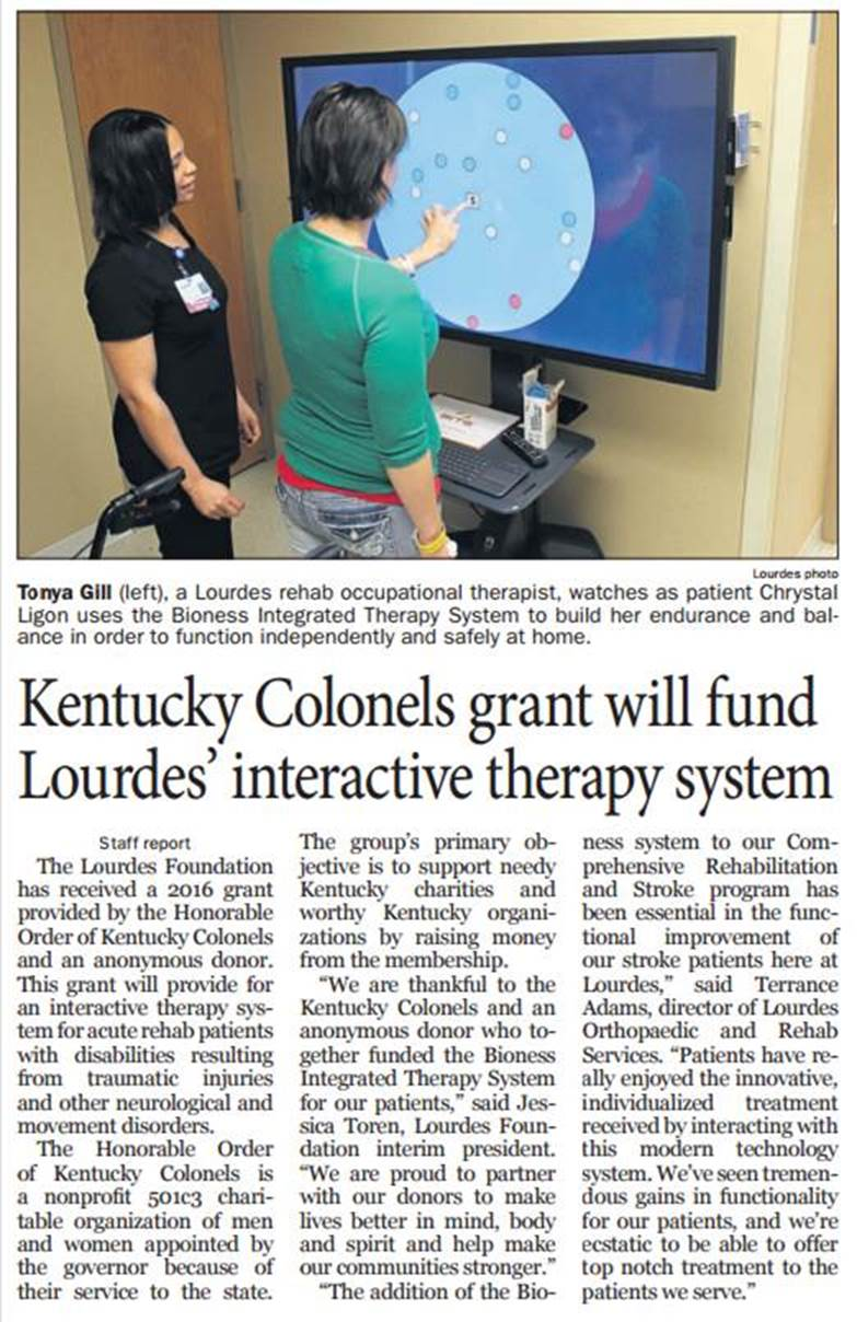 Kentucky Colonels will fund Lourdes' interactive therapy system