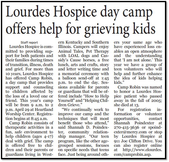 Lourdes Hospice Day Camp Offers Help for Grieving Kids