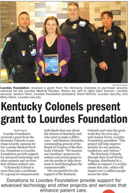 Kentucky Colonels Present Grant to Lourdes Foundation
