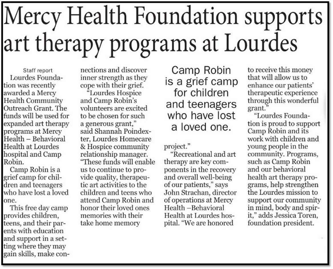 Mercy Health Foundation Supports Art Therapy Programs at Lourdes