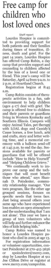 Free Camp for Children Who Lost Loved Ones