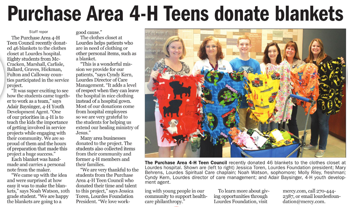 Purchase Area 4-H Teens Donate Blankets