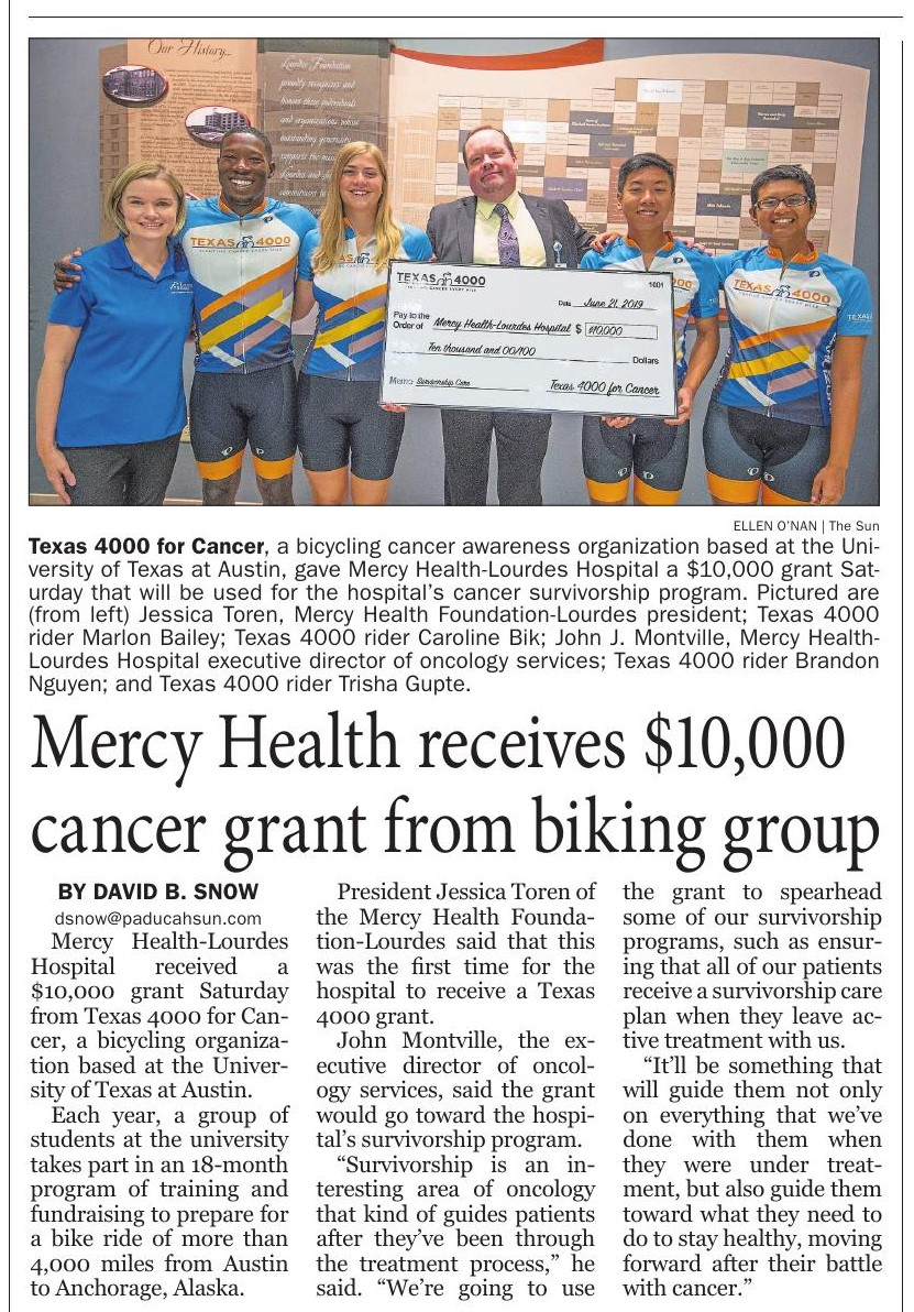 Mercy Health Receives $10,000 Cancer Grant from Biking Group